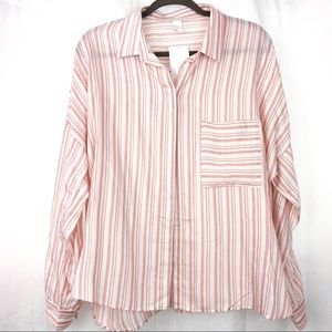 H&M Pink & White Striped Button Down Top